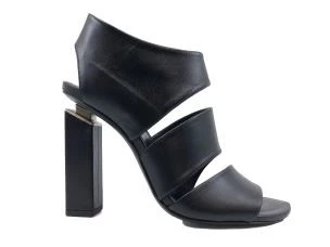 VIC MATIE' 7508 BLACK LEATHER WOMEN'S SANDAL WITH HIGH HEEL