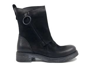 METISSE BL44 BLACK LEATHER WOMEN'S ANKLE BOOT WITH ZIPPER
