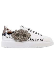 Gio G720B White leather women's sneaker with accessory