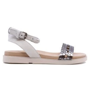Mjus P07008 white women's sandal in white leather and accaio